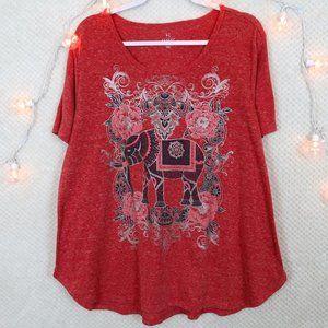 Hannah Pink Elephant & Floral Print Boho Tee Shirt